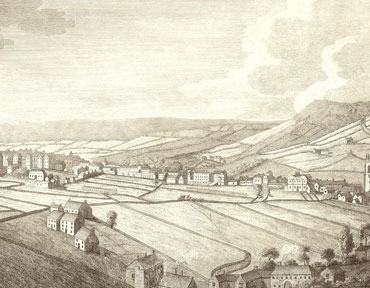 An old, drawn image of surrounding areas from 1774.