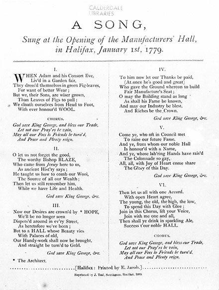 A print out of the Song, which was performed at the opening of Manufacturer's hall 1779.