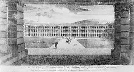 A historical image of The piece hall in 1787.