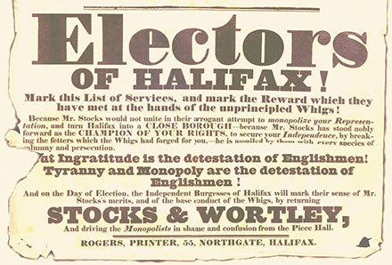 Electors of halifax, print out of historical poster.