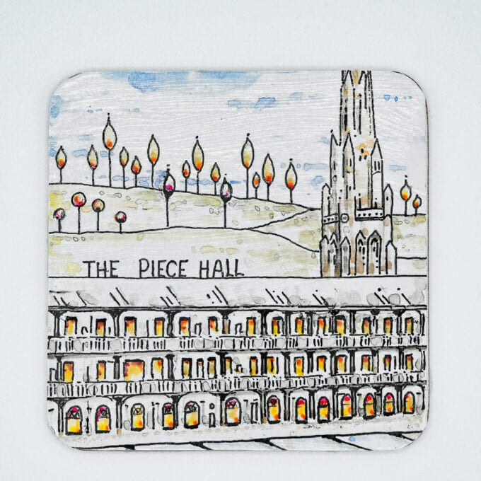 The piece hall handcrafted coaster.