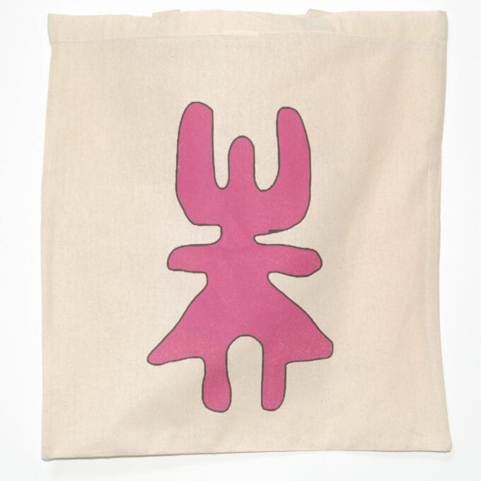 Pink symbol tote bag.