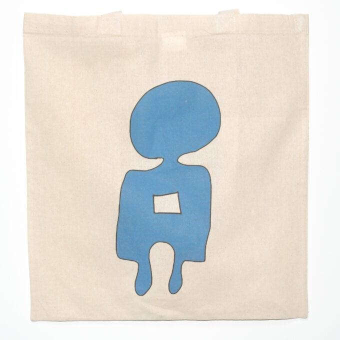 Blue person tote bag.