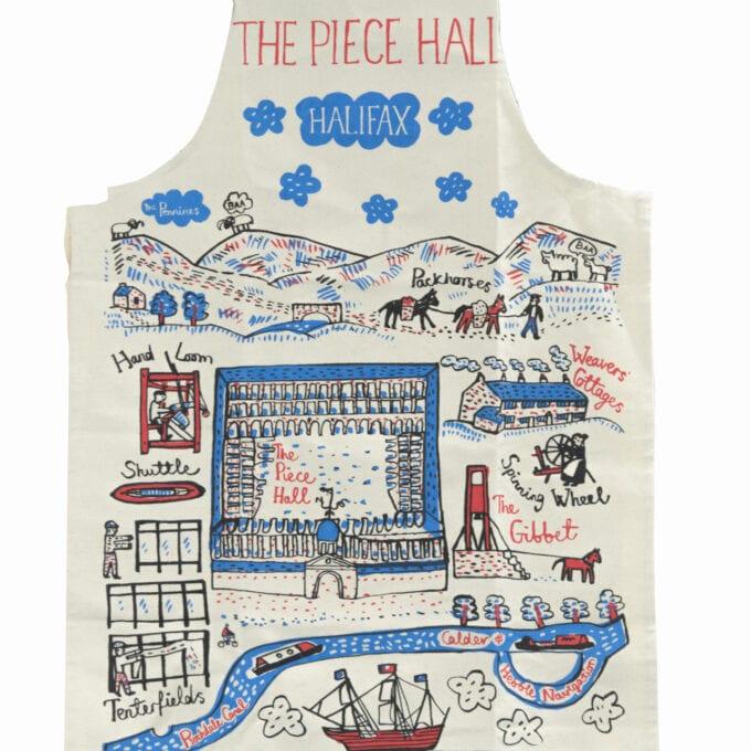 The piece hall apron, with Julia Gash's drawn design.