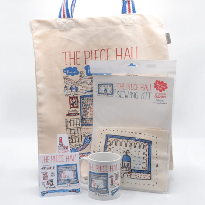 The piece hall sewing kit & tote bag bundle.