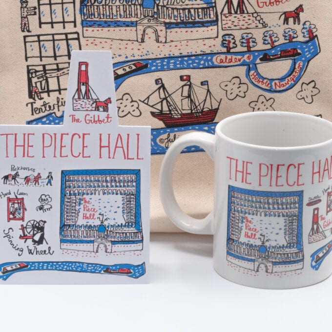 The piece hall drawn greeting card and souvenir china cup.