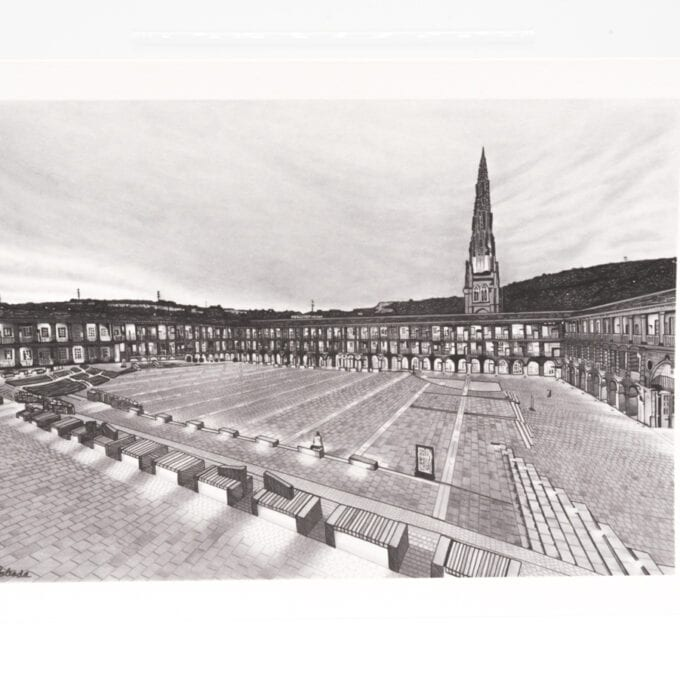 Black and white image of the courtyard and church spire.