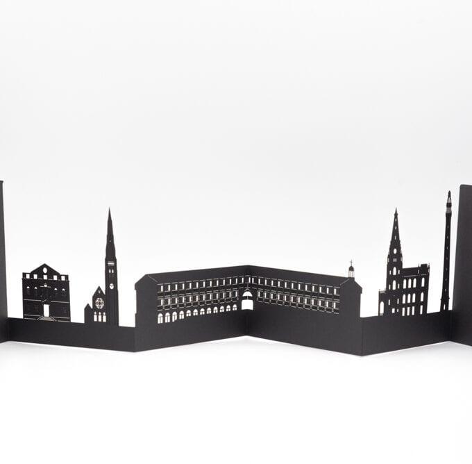 The piece hall 3D, laser cut card.