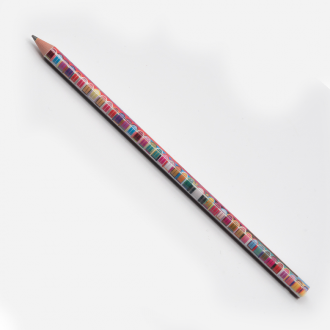 A multicoloured piece hall design printed onto a pencil.